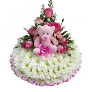 Baby girl massed posy pad with teddy