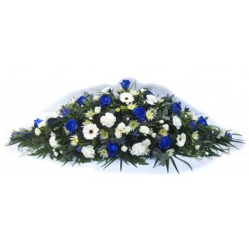Florist Choice Blue and White Casket Spray