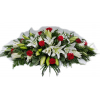 White Oriental Lily and Red Rose Casket Spray