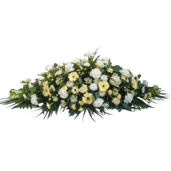 Florists Choice Lemon and White double ended casket spray