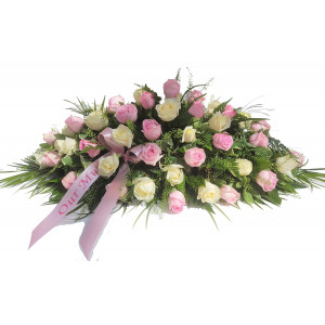 Pink and White Rose Casket Spray