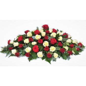 Red and White Rose Casket Spray