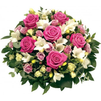 rose and freesia posy pink and white