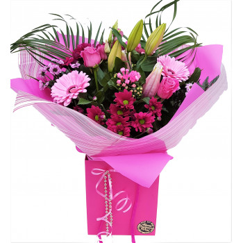 Florists Choice-Pink Mixed Hand-tied Bouquet