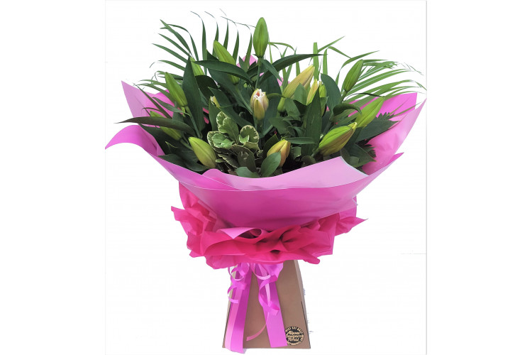 Pink Oriental Lily Hand-tied