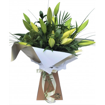 White Oriental Lily Hand-tied