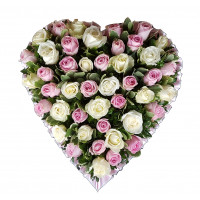 Pink and White Rose Heart