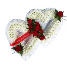 Double Heart - white and red