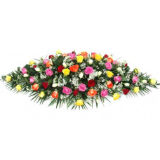 mixed roses casket spray