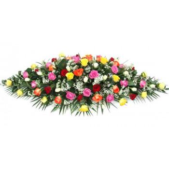 mixed roses casket spray