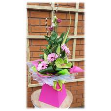 Pink Gerbera Modern Hand-tied Bouquet