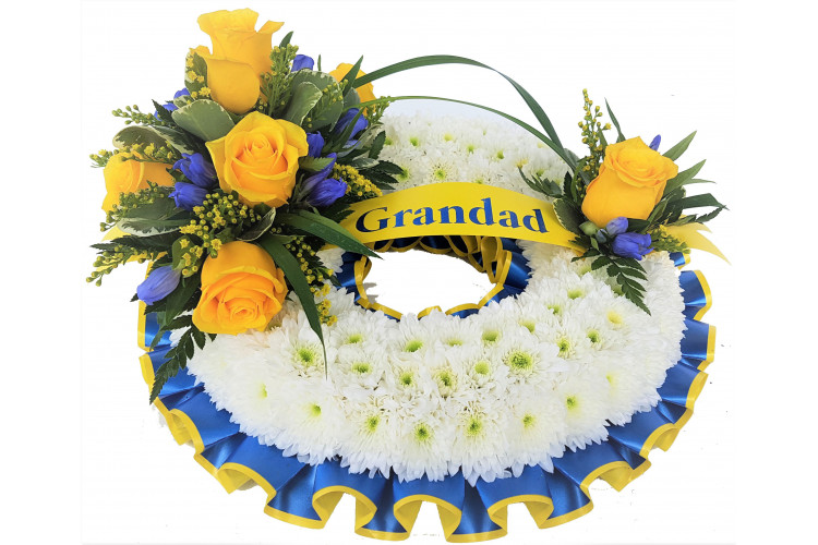 Massed Wreath - Blue and Yellow